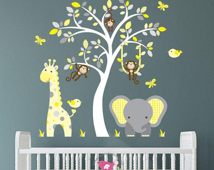 Safari Decal, geel en grijs kwekerij decor met brutale aap, giraf, babyolifant, witte boom muurschildering. Geslacht neutrale Wall Stickers, citroen