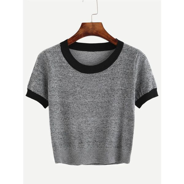 Grey Contrast Trim Knitted T-shirt ($16) ❤ liked on Polyvore featuring tops, t-shirts, grey top, print tees, grey tee, patterned tees and short sleeve tops