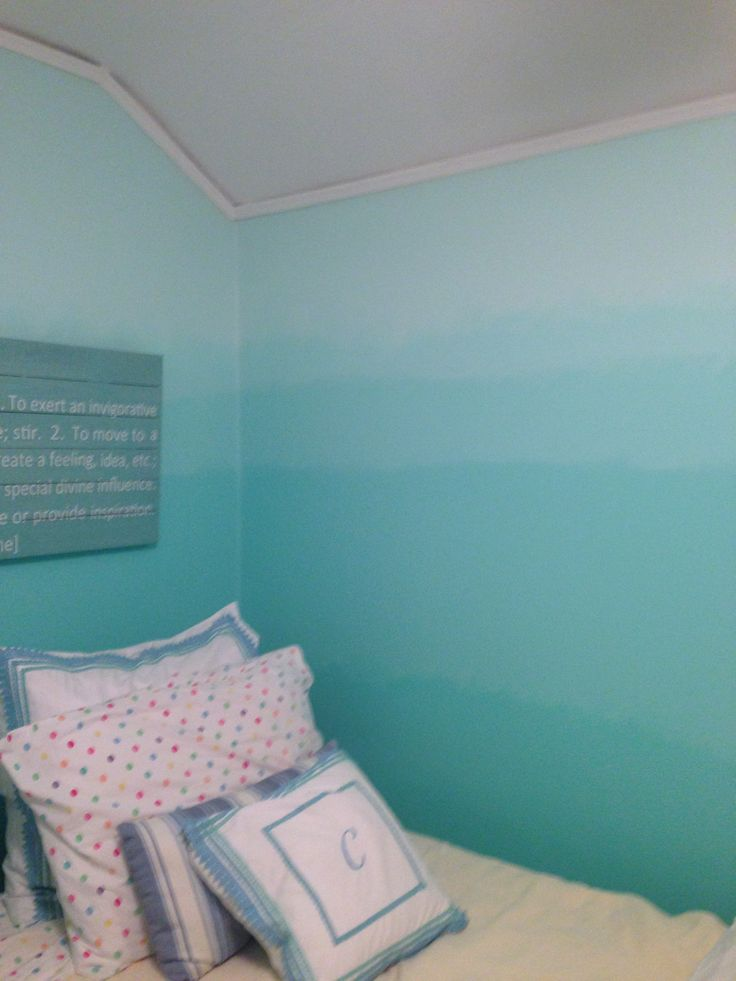 Ombr painted walls completed projects pinterest painted walls and ocean How to paint a bedroom wall