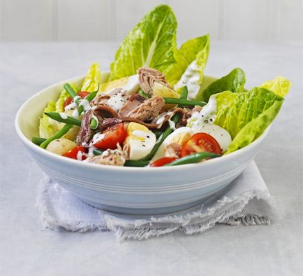 French bistro classic, the tuna Niçoise, becomes healthier with extra lettuce and veg and low fat dressing