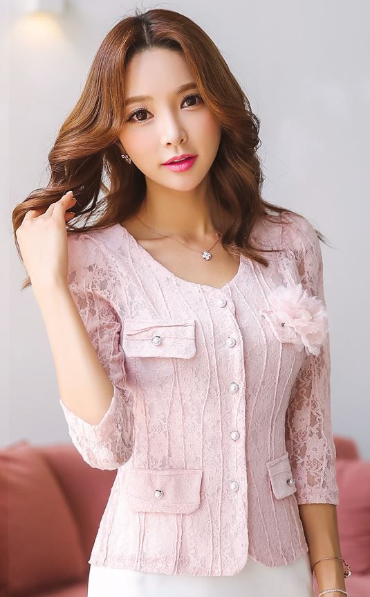 StyleOnme_Pearl Button Quarter Sleeve Lace Jacket #baby #pink #lace #feminine…