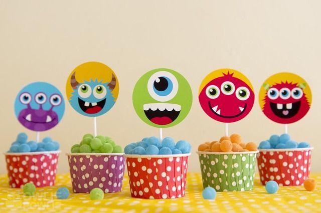 Festa dos Monstros. Decoração de festa infantil. gomas