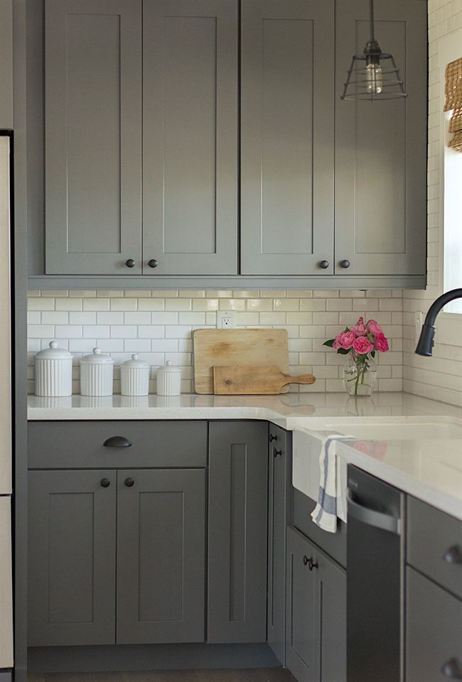 Simple and beautiful, better with white uppers/ or both upper and lower white. Jenna Sue Design shaker cabinets in a medium gray from Lowes