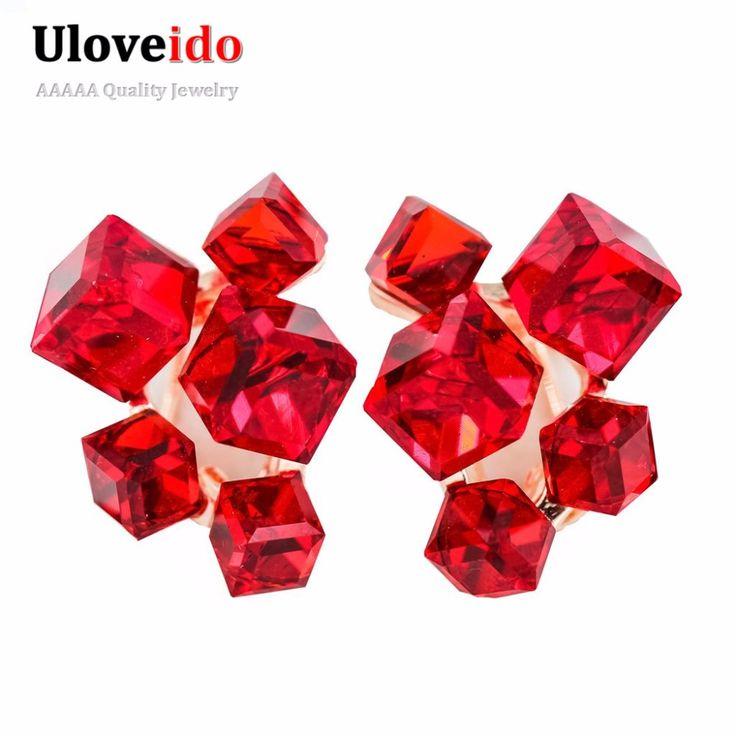 2016 mode Geometrische Zirkonia Kristall Ohrringe für Frauen Rot Schmuck Ohrringe mit Steinen Ohrringe Brincos Aneis GR124