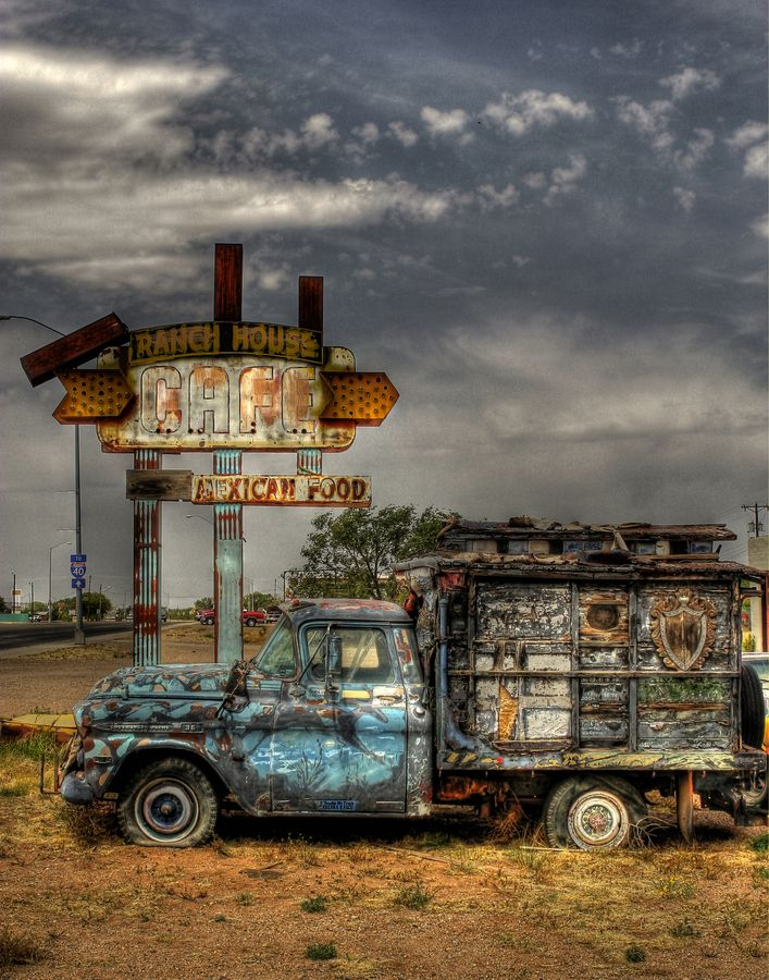 This is the famous painted truck that can be found along route 66 in Tucumcari New Mexico