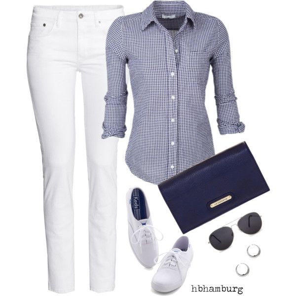 """""""No. 456 - Casual Sunday"""" by hbhamburg on Polyvore I have the pants and the shoes...love that shirt!"""