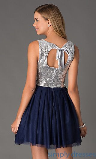 Shop SimplyDresses for short sequin dresses and junior party dresses with sequins. Sleeveless sequin navy blue short dresses for prom or party.