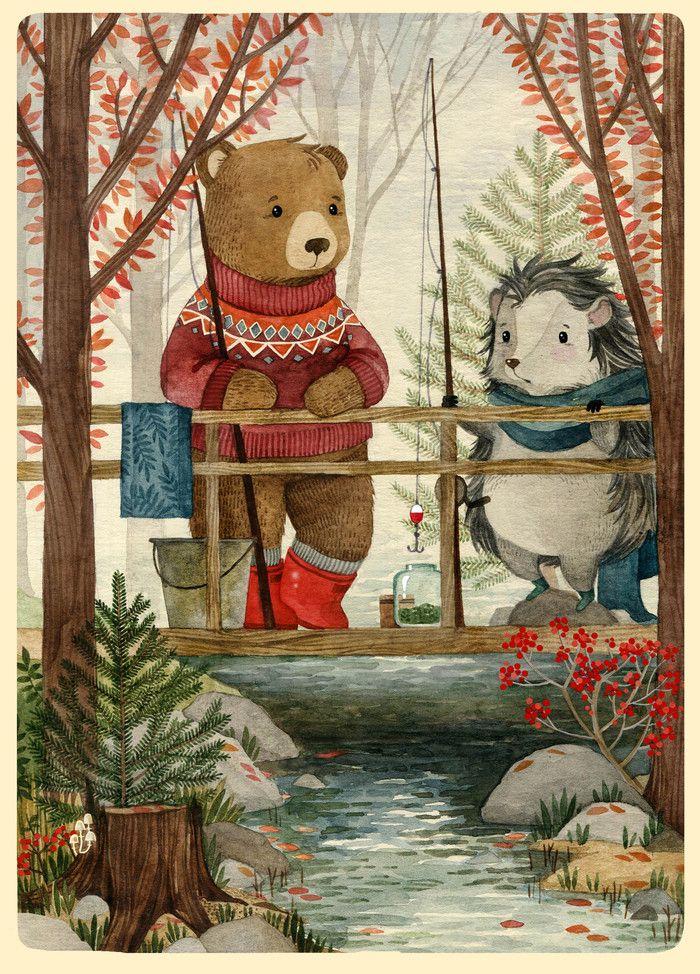 Посмотреть иллюстрацию Богданова Дарья - Рыбалка. Ежик и Медвежонок.