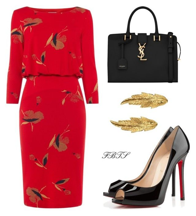 Blouson Dress Today by flybeyondtheskies on Polyvore featuring Phase Eight, Christian Louboutin, Yves Saint Laurent and LeiVanKash