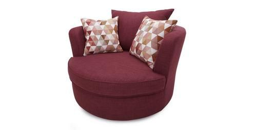 Vale Large Swivel Chair with Pattern Scatters Revive | DFS