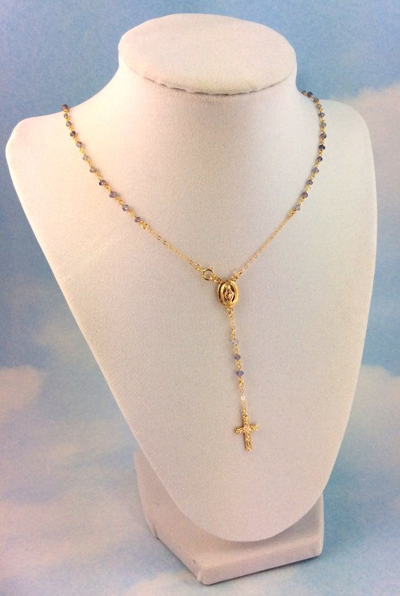Iolite Gemstone Gold Rosary Necklace Womens by divinitycollection, $85.00