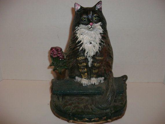 Reserve for patricia vintage cast iron cat door stop - Cat door stoppers ...