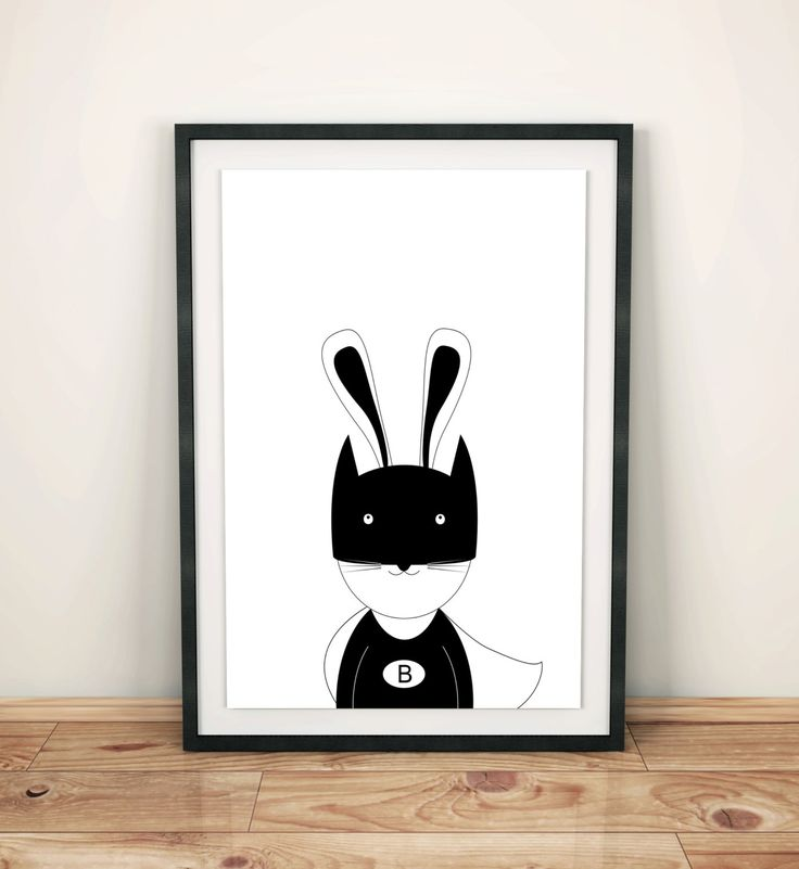 Nursery print poster with bunny batman, wall art decor, boys room, superhero rabbit, black and white, simple design, graf poster by GrafPoster on Etsy