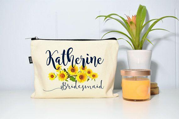 Bridesmaid Makeup Bag Sunflower Wedding Sunflower Decor