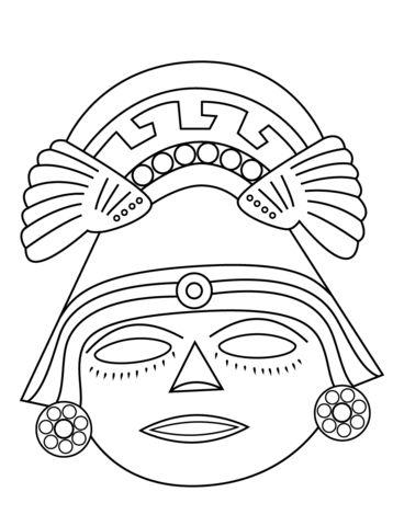 Aztec Mask Coloring page Mascaras Pinterest Aztec