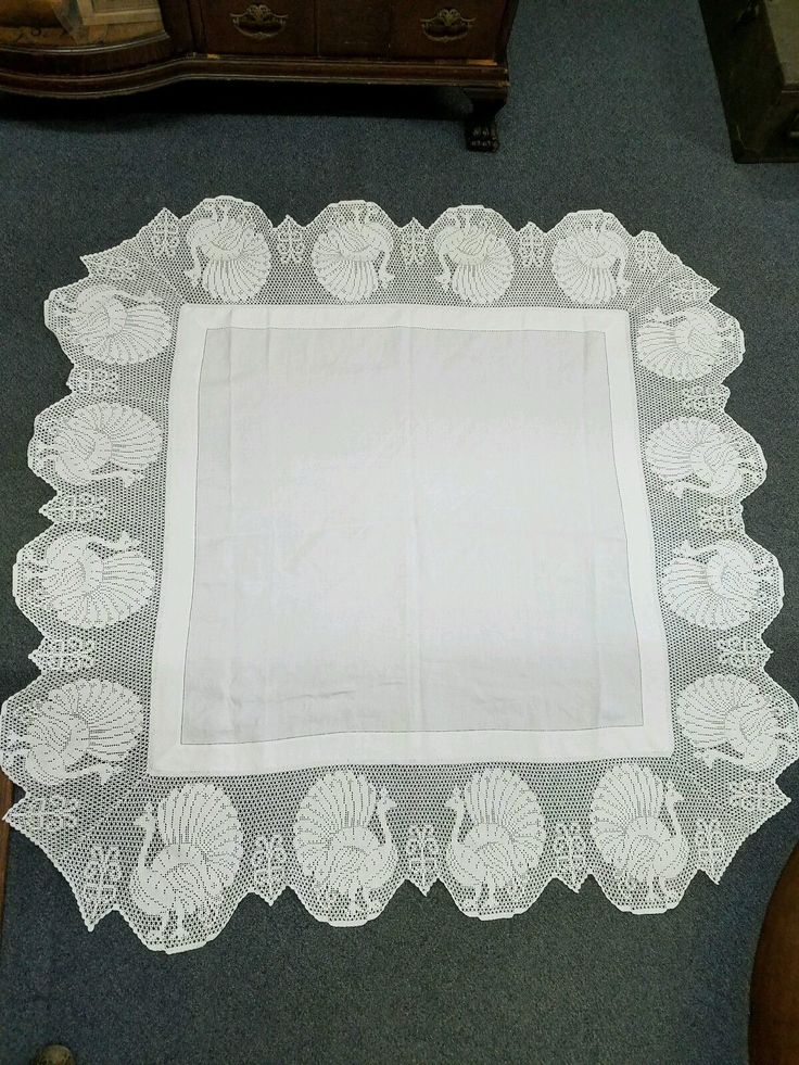 "Antique Vintage 55"" Square White IRISH LINEN Lace Peacock TABLECLOTH Hand Work!! 