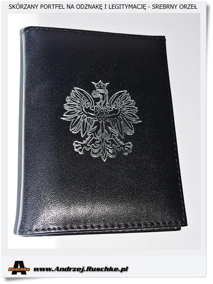 skórzany męski portfel z orłem na odznakę i legitymację