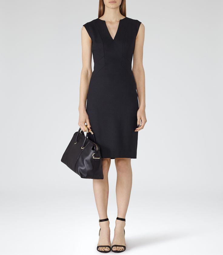 Womens Midnight Tailored V-neck Dress - Reiss Era Dress