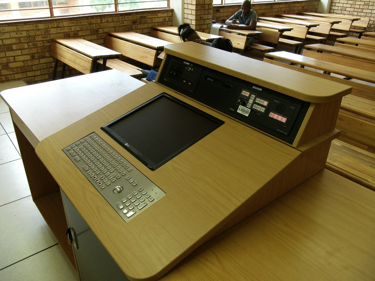 Custom manufactured education lecturn with integrated PC ...
