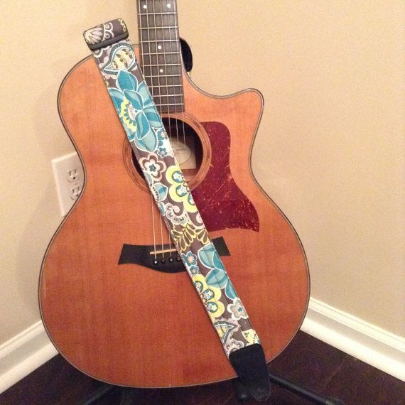 Guitar Strap Handmade Blue Yellow Flowers By CraftyCary WITH A MONOGRAM