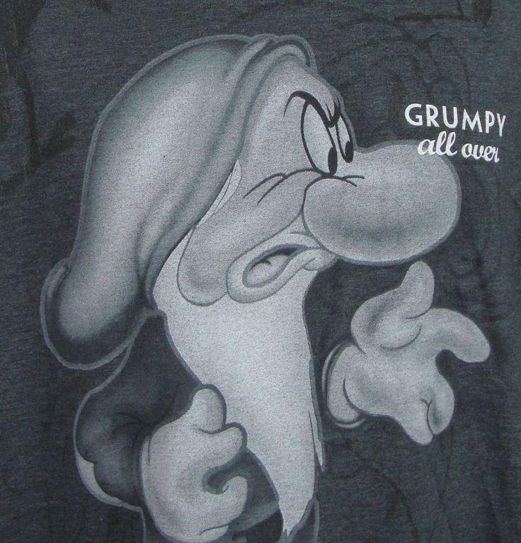 Walt Disney T-shirt Womens Large Grumpy All Over Dwarf Gray SS Graphic Tee  #Disney #GraphicTee $24.99
