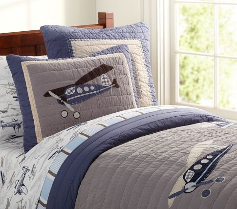 Taking Flight Quilted Bedding | Pottery Barn Kids - I think i'm going for this theme for Connor's big boy room.