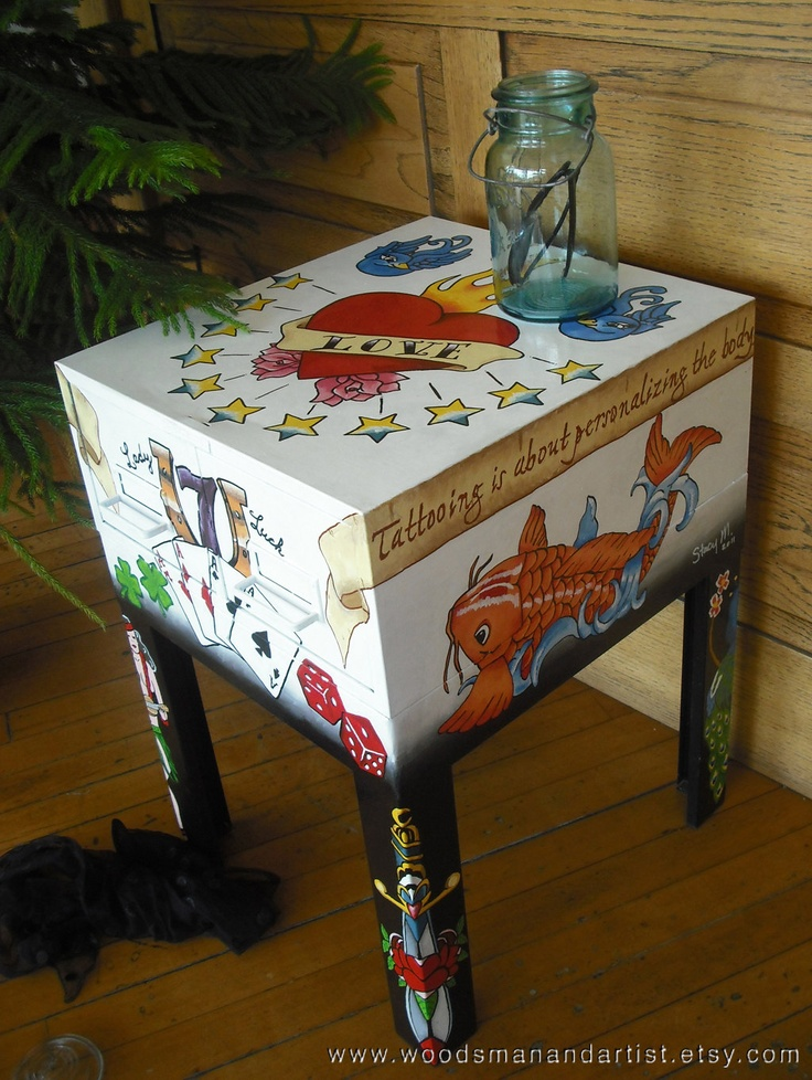 Old School Tattoo Table -- metal table handpainted with enamel. $400.00, via Etsy.