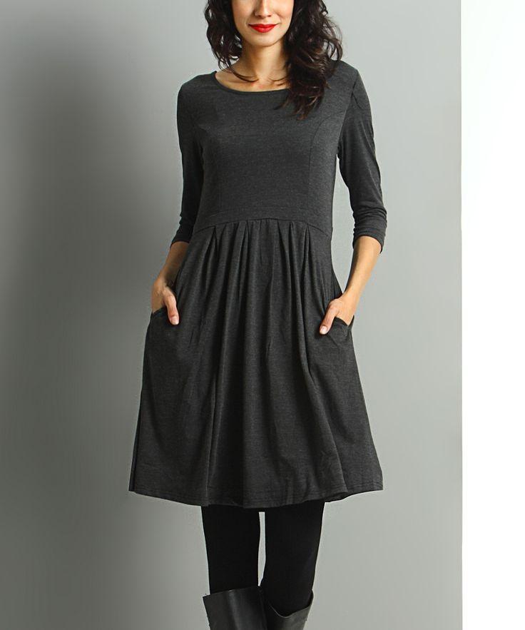 Charcoal Side-Pocket Fit & Flare Dress