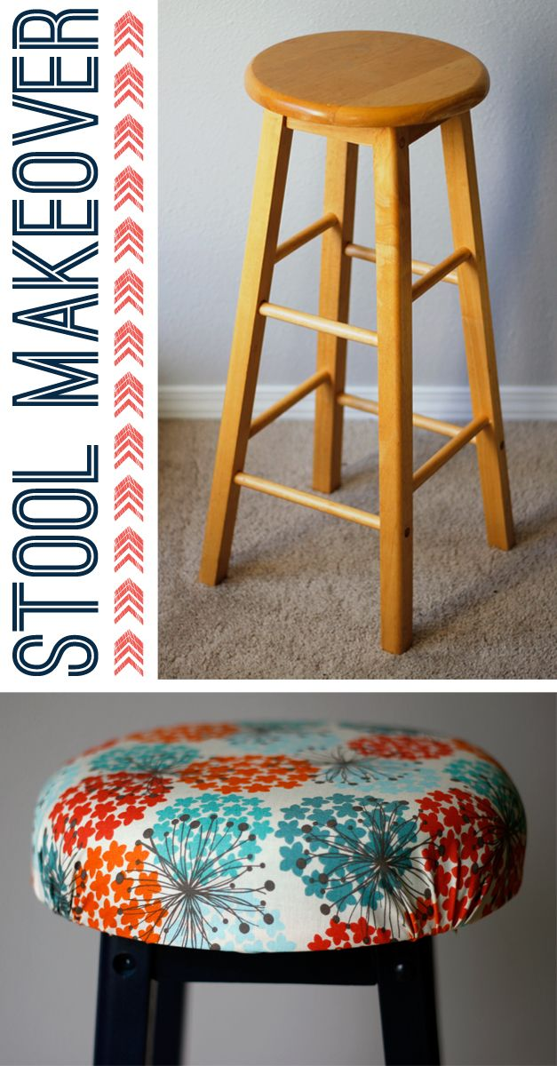 This old bar stool was in perfect condition but was in desperate need for some personality! DIY an easy padded seat with foam, pretty fabric, and some paint for an updated look! Complete this simple makeover tonight! via @acraftedpassion