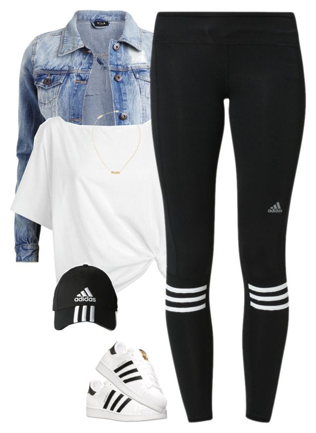 """Adidas*"" by thatchickcrazy ❤ liked on Polyvore featuring VILA, Red Herring, adidas and Yves Saint Laurent"
