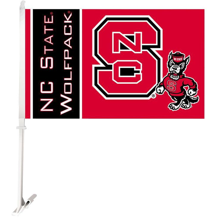 Ncaa 11 in. x 18 in. NC State 2-Sided Car Flag with 1-1/2 ft. Plastic Flagpole (Set of 2)