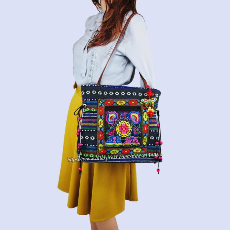 Online Shopping at a cheapest price for Automotive, Phones & Accessories, Computers & Electronics, Fashion, Beauty & Health, Home & Garden, Toys & Sports, Weddings & Events and more; just about anything else#hmong bohemian embroidery tote bag#charm pom tassel bag