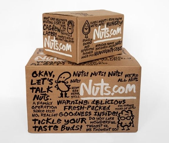 Nuts.com custom shipping boxes with hand drawn scripts and illustrations #packaging