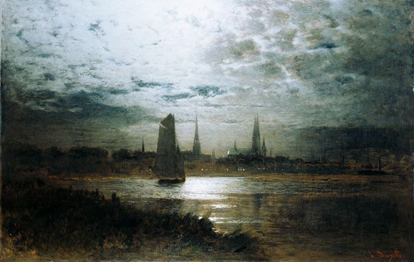 Louis Douzette - Lübeck im Mondschein