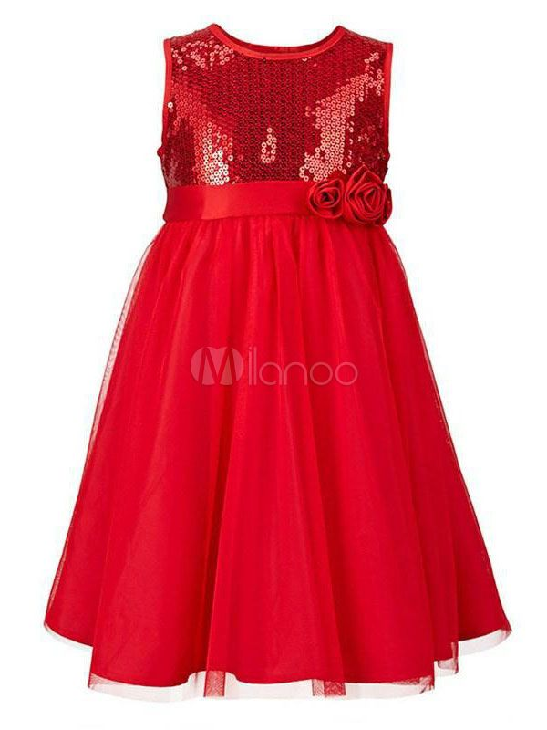 07709b86ed03 Red Flower Girl Dresses Sequin A Line Kids Tutu Dress Knee Length Girls  Formal Party Dress #Sequin, #Line, #Kids