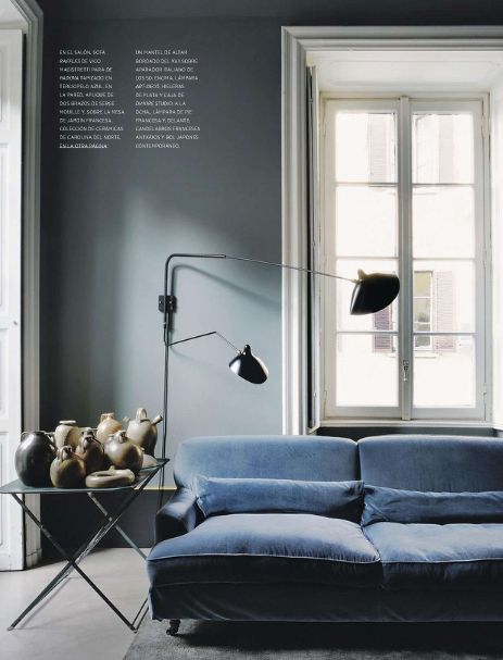 blue grey walls w/ serge mouille lighting via MFAMB