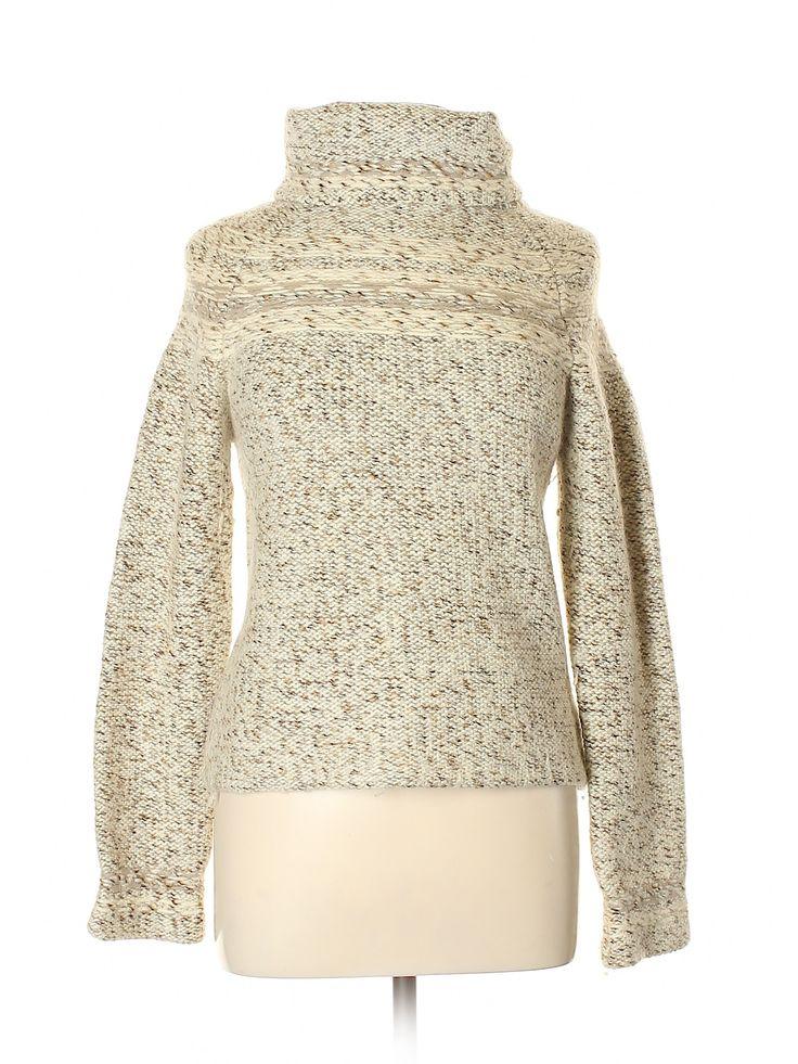 Gap Wool Pullover Sweater: Beige Solid Turtleneck Women's Sweaters & Sweatsh…