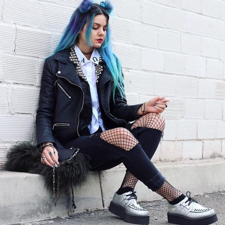 Pastel blue shirt with choker necklace, faux leather studded jacket, ripped pants, fishnet tights & silver creepers shoes by athousandchapters