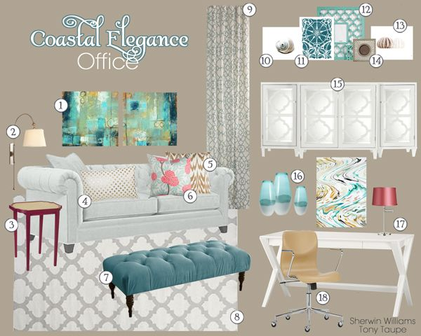 Coastal Elegance Home Office Mood Board   Teal and Lime Interiors