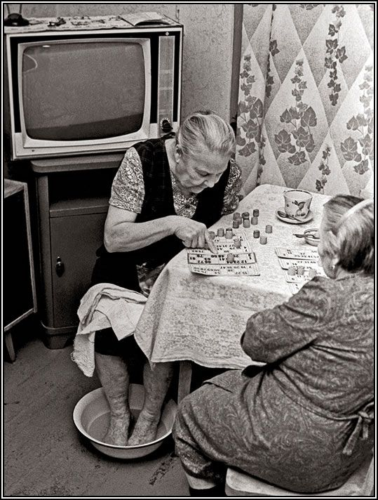 "USSR. Life in the 80s. Playing ""loto"" (bingo) // photo by Vladimir Rolov."