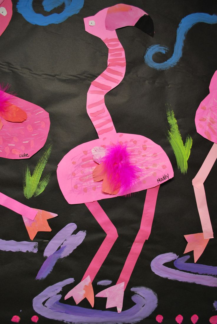 2nd grade student created these hilarious flamingos with construction paper, painted paper, oil pastels,feathers and tempera paint. Directions: Students first created the body then added a curvy ne…