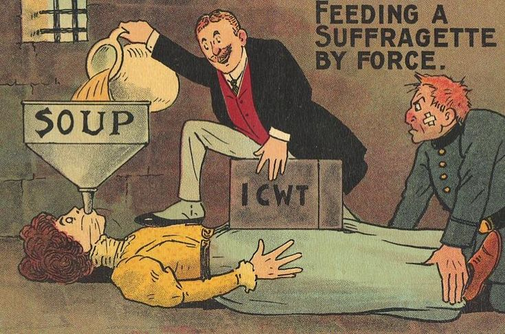 From the end of September 1909, forcible feeding was the common practice of dealing with hunger-striking suffragettes who were protesting against the government's refusal to recognise them as political offenders. Some commercial publishers considered it a suitable subject for a comic postcard, seen here