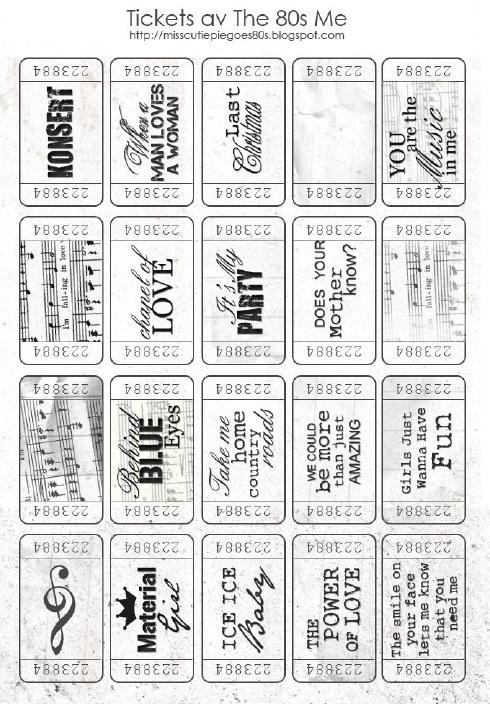 Free printable Tickets that would be great for journaling