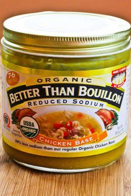 Better Than Bouillon Organic Low-Sodium Chicken Base, recommended by Kalyn and found at some Costcos.