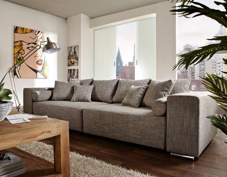 Big-Sofa Marbeya 290x110cm Hellgrau mit Schlaffunktion
