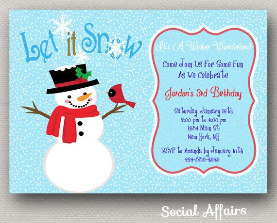 86 best Social Affairs images – Snowman Birthday Invitations