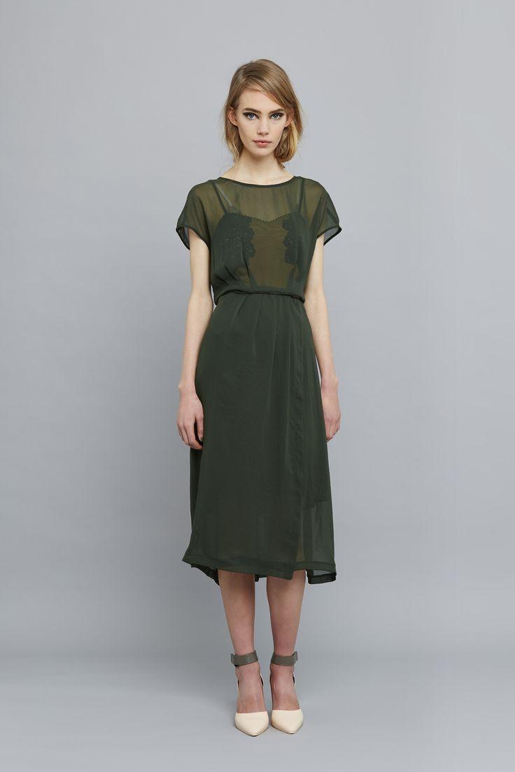 Ingrid Starnes AW15 // Fifi slip, Margot dress, moss.