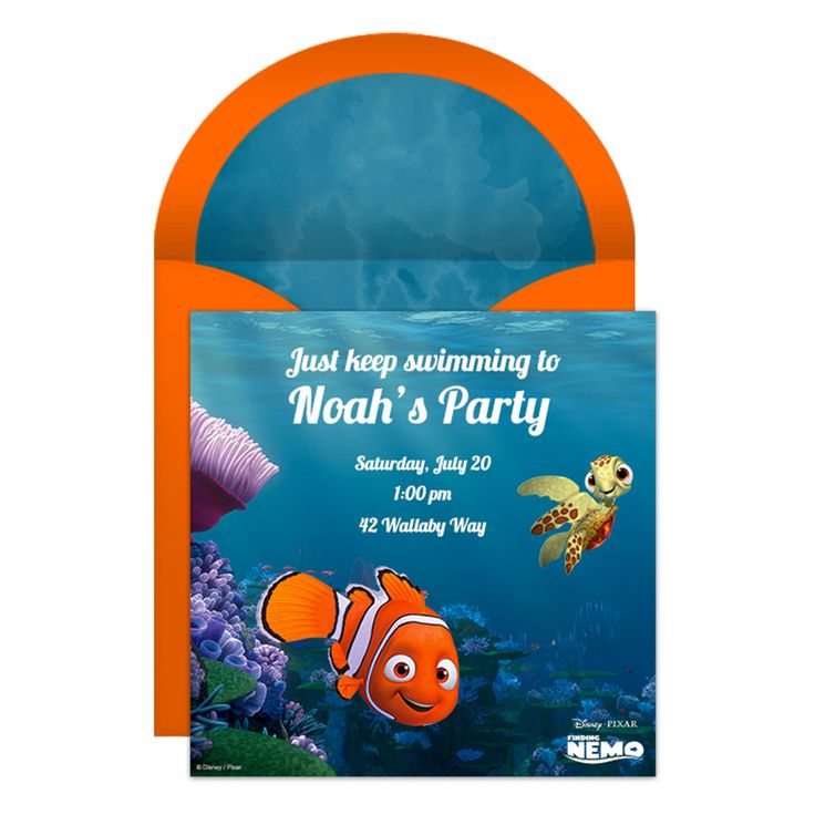 """Send this free online Finding Nemo party invitation and encourage all your guests to """"just keep swimming."""""""