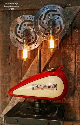 Steampunk Industrial Lamp, Harley Davidson Motorcycle Gas Tank #385