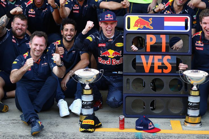 Max Verstappen, Red Bull Racing celebrates his first F1 win with Daniel Ricciardo, Red Bull Racing, Christian Horner, Red Bull Racing Team Principal and his team